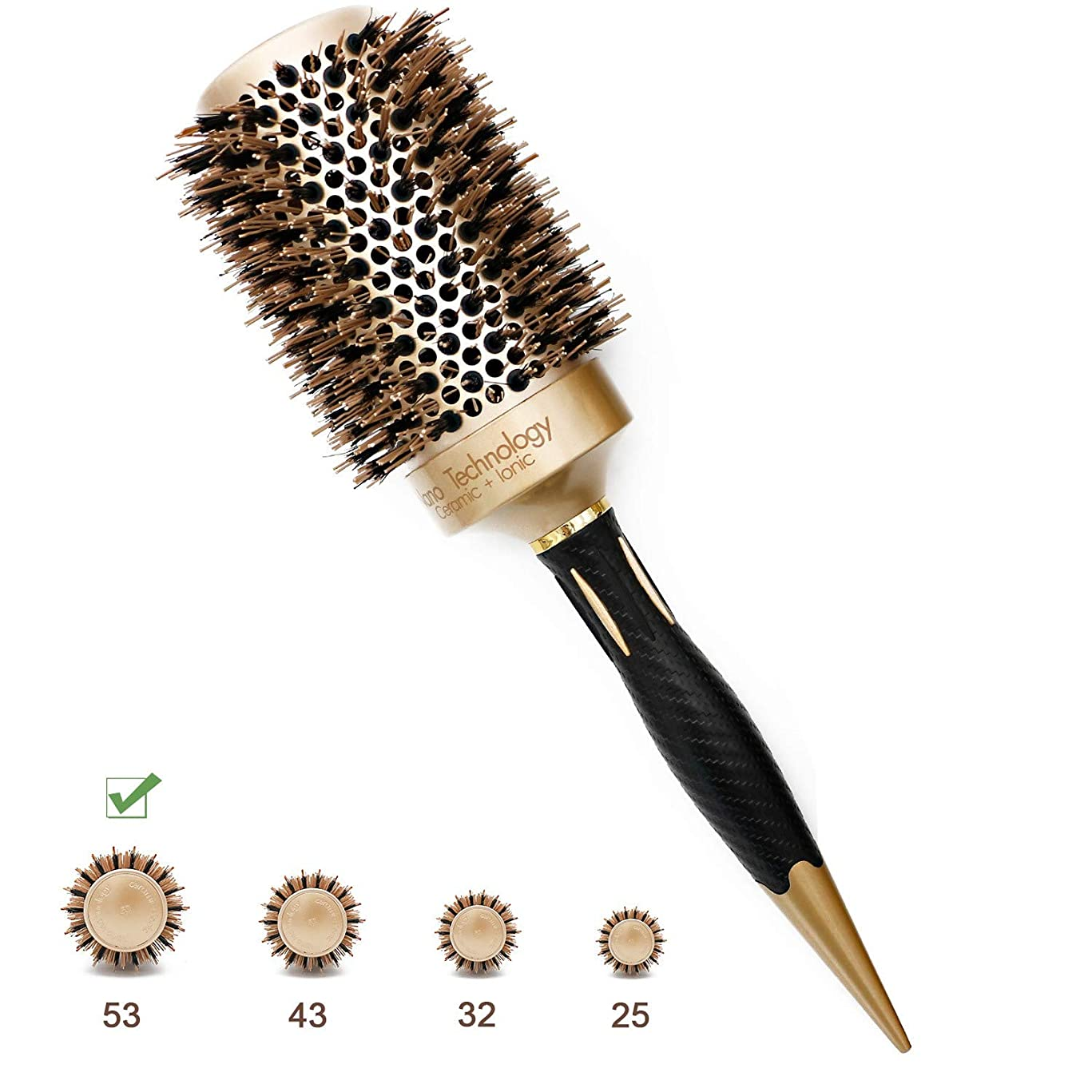 Barrel Round Hair Brush Nano Ionic Thermal Ceramic Boar Bristles Roller Hairbrush For Blow Drying, Curling, Straightening, Perfect Volume Shine (3.3