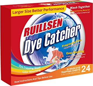 RUILLSEN Laundry Color Catcher, Dye Trapping Sheet Dirt Grabber Stain Remover Sheets Combine Color Color Collector(Dye Catcher in-Wash 24-Count Sheets at School/Single-Apartment/Small Families)