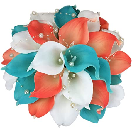 Real Touch Calla Lily Boutonnieres Aqua and White Wedding Flowers Natural White Calla Lily Silk Aqua Orchid Boutonnieres Beach Flowers