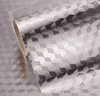 Kitchen Backsplash Wallpaper Stickers Self Adhesive Aluminum Foil Stickers Oil Proof Waterproof Kitchen Stove Sticker 15.7...
