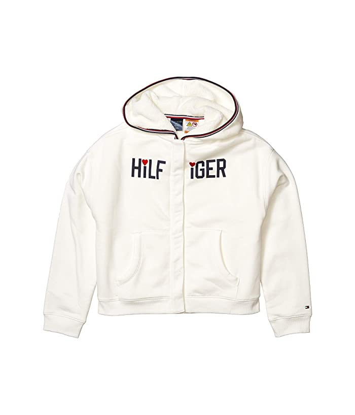Tommy Hilfiger Adaptive  Faux Fur Lined Signature Hoodie (Little Kids/Big Kids) (Snow White) Womens Clothing
