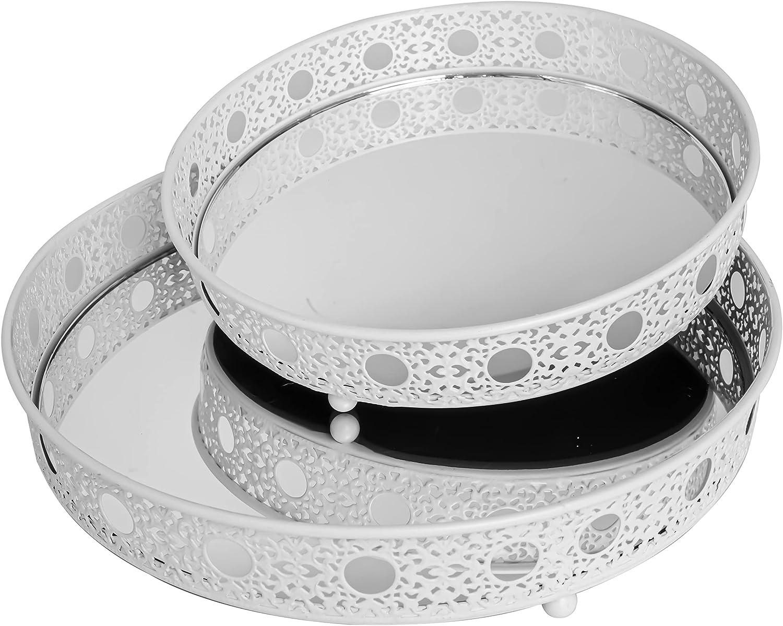 Mirrored Tray Perfume 5 ☆ popular Round Jew Metal Award-winning store Ornate Vanity