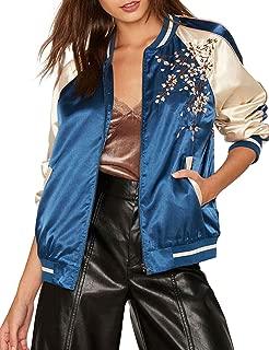 Women Lightweight Flower Embroidered Long Sleeve Bomber Jacket