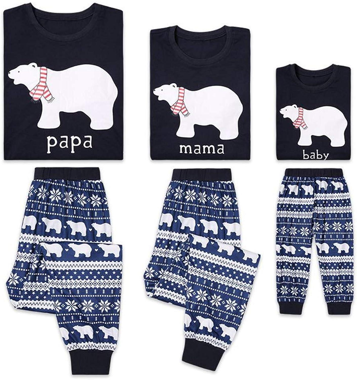 blue GRUN Family Christmas Pajamas Set  2 Piece Pjs Sets Cotton Sleepwears for Mom,Dad,Kids
