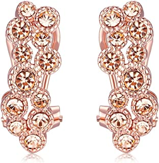 AmDxD Jewelry Champagne Gold Plated Women's Earrings Drop Cluster with CZ Champagne