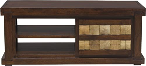 Heritage Prime Siena Solid Wood TV Entertainment Unit Rich Brown Finish