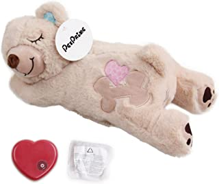 Dog Soft Plush Toy Pet Heart Beat Plush Bear Toy with Warmer Bag Puppy Anxiety Relief Toy for Puppy Dogs