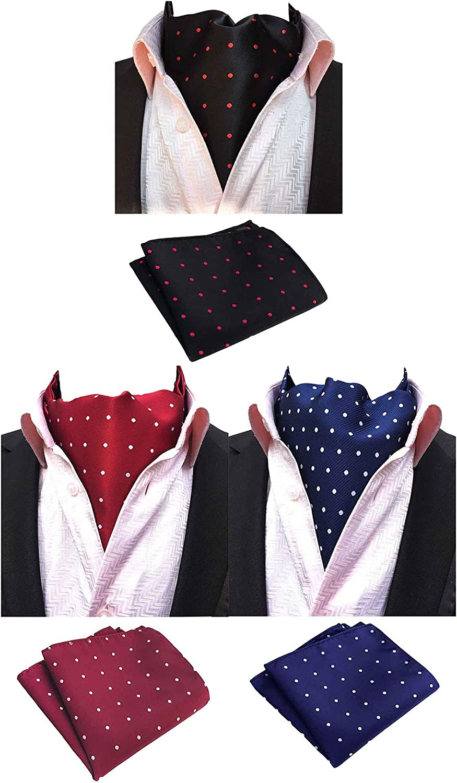 MOHSLEE Mens Formal Polka Dots 3 Pack Cravat Ascot Scarf Tie & Pocket Square Set