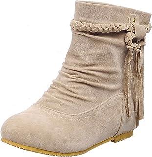 ZARLLE/_Botas Botas Planas Mujer Invierno Mujer Oto/ño Invierno Carta De Las Mujeres Cremallera De Mezclilla Grueso Invierno C/álido Botas Planas De Nieve Zapatos De Punta Redonda Mujer Botas Altas