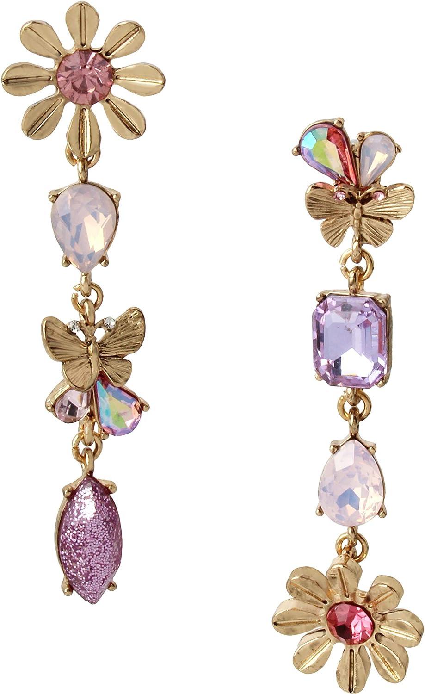 Betsey Johnson Flower Mismatch Linear Earrings
