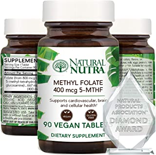 Natural Nutra Active Methyl (Methylated) Folate Supplement with Quatrefolic, L-5-MTHF (Methyltetrahydrofola...