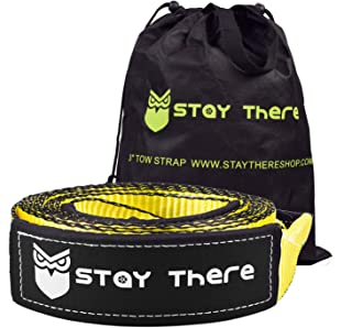 Stay There 3'' x 20ft Tow Recovery Strap, Lab d 30000lb Break Strength with Reinforced Loops Built for Off-Roading, mud, S...