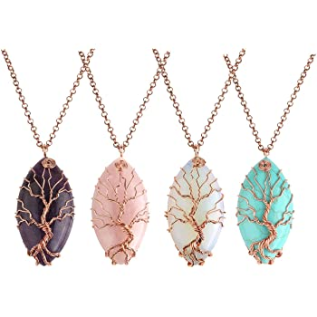 Large Bohemian Glass Tree of Life Pendant Gemstone Pendent Necklace Gift MN