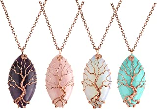 Vintage Teardrop/Heart Natural Gemstones Healing Crystal Stone Necklace Wire Wrapped Copper Tree of Life Chakra Pendant, Mothers Gifts
