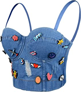 ELLACCI Deium Hole Cute Decoration Women's Bustier Crop Top Jean Corset Top Bra