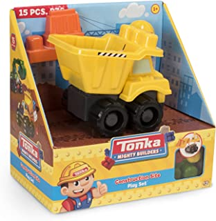 Tonka Mighty Builders Construction Site Playset with 15 Pieces, Dump Truck