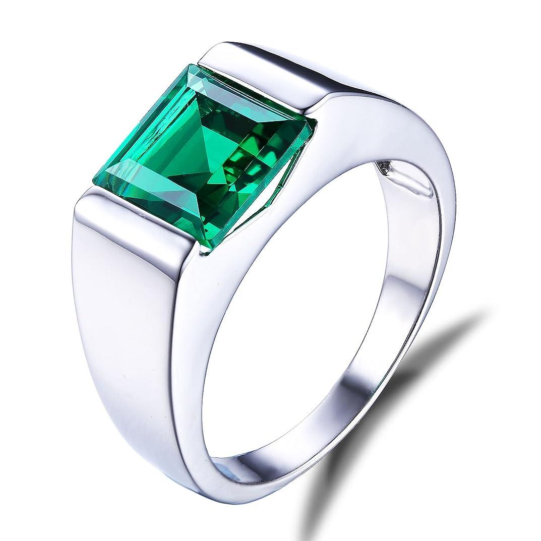 シャープ好戦的なワードローブJewelryPalace 2.34ct スクエア 人工 ナノ 誕生石 5月 エメラルド リング メンズ スターリング シルバー 925 婚約 指輪 男性