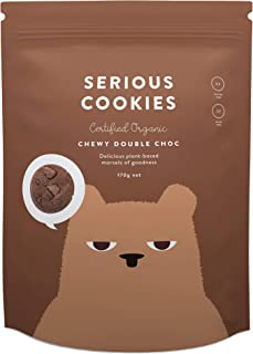Serious Foods Cookies Chewy Double Chocolate Chip (Made in New Zealand, Gluten Free, Organic, No Refined Sugar)