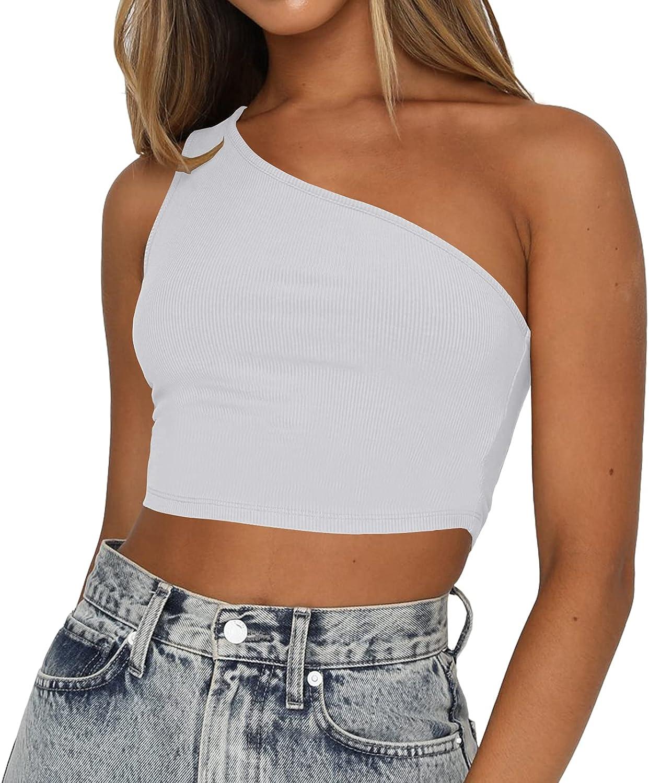 Artfish Women's Sexy Sleeveless One Shoulder Shirts Knit Ribbed Basic Crop Tank Tops