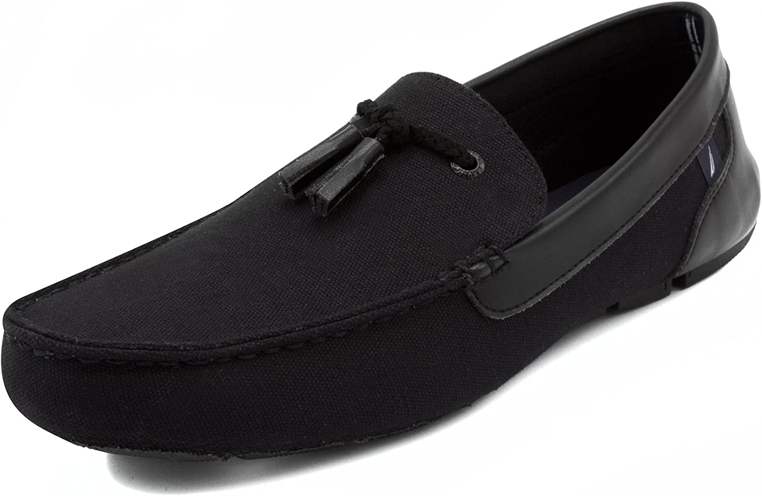 Nautica Weldin Men's Casual Tassel Slip-On Driving Penny Loafers Boat shoes Driver Moccasins-Black-9