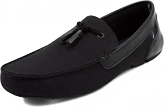 Nautica Weldin Men's Casual Tassel Slip-On Driving Penny Loafers Boat Shoes Driver Moccasins-Black-9.5
