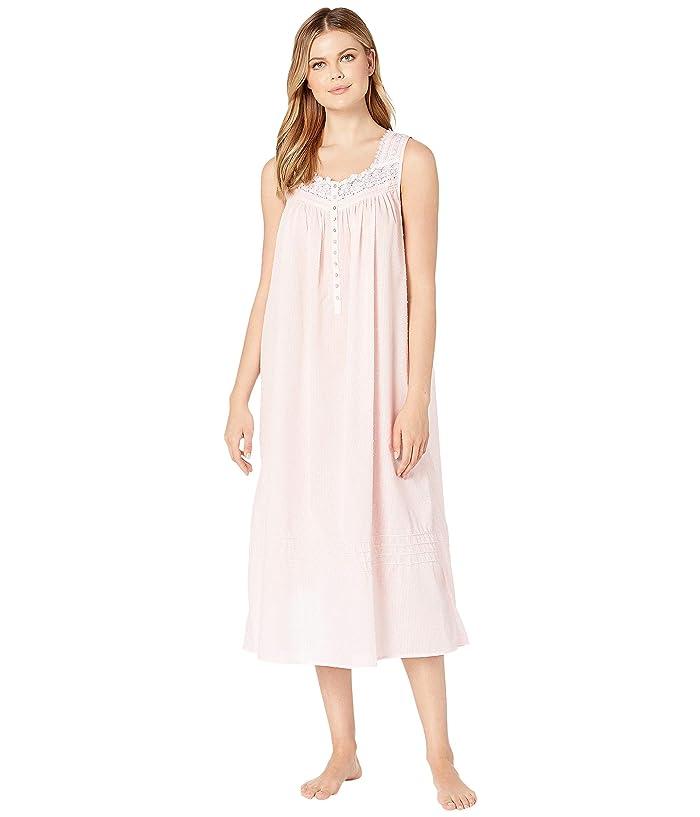 Eileen West Woven Sheer Stripe Clip Dot Sleeveless Ballet Nightgown (Solid Rose) Women