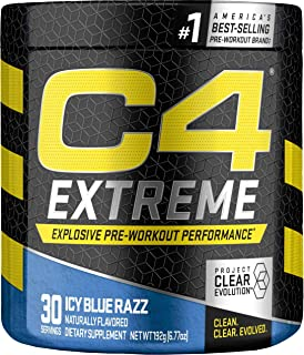 C4 Extreme Pre Workout Powder ICY Blue Razz   Sugar Free Preworkout Energy Supplement for Men & Women   200mg Caffeine + Beta Alanine + Creatine   30 Servings