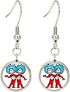 Dr Seuss Dangle Earrings TV Movies Classic Cartoons Superhero Logo Theme Thing 1 an 2 Lorax Cat in the Hat Premium Quality Detailed Cosplay Jewelry Gift Series