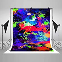 COMOPHOTO Glow Neon Graffiti Backdrop 5x7ft Vinyl Colorful Abstract Art for Photo Studio Props Glowing Party Supplies Decoration Photography Background
