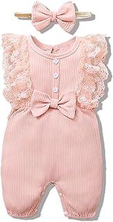 Baby Girls Clothes Onesies Newborn Infant Ruffle Long...
