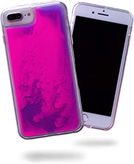 SteepLab Flowing Neon Sand Liquid iPhone 8 Plus & iPhone 7 Plus Case - Full Body Protection with Raised Bezel - Blueberry and Pink Glow