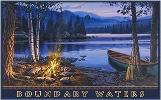 Boundary Waters Minnesota Canoe Fire Travel Art Print Poster by Darrell Bush (12