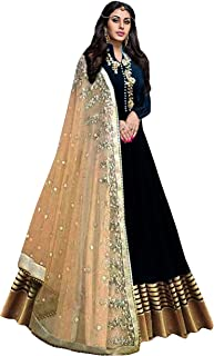 Pop Mantra Women's Art Silk Anarkali Salwar Suit Set (71018_Black_XXX-Large)