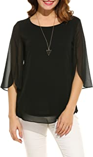 Womens Casual Scoop Neck Loose Top 3/4 Sleeve Chiffon...