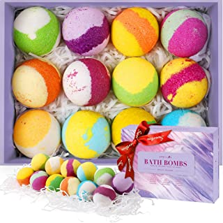 Aprilis Bath Bombs Gift Set, Organic Kids Bath Bombs with Lush Spa Fizzies & Colorful Bubble, Moisturizing with 12 Natural Essential Oils, Handmade Birthday Gifts for Women Best Friends, Wife and Girl
