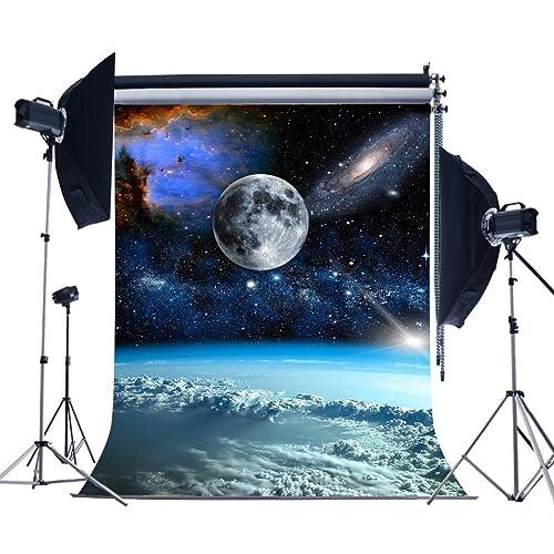 MUEEU 5x7ft Galaxy Backdrops Moon Universe Vinyl Full Photography Background Amateur Astronomer Birthday Photo Shoot Studio Props