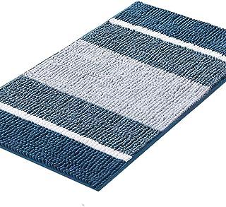 Luxury Chenille Plush Bath Rug, Gradient Blue Stripe Pattern Non Slip Absorbent Super Cozy Shaggy Bath Mat, Machine Washab...
