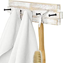 MyGift 5 Hook Shabby Chic White Washed Wood & Black Metal Bathroom Hand Towel Holder Wall Mounted Storage Rack
