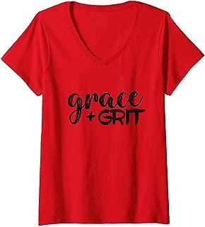 Womens Grace + Grit Motivational Inspirational Mantra V-Neck T-Shirt