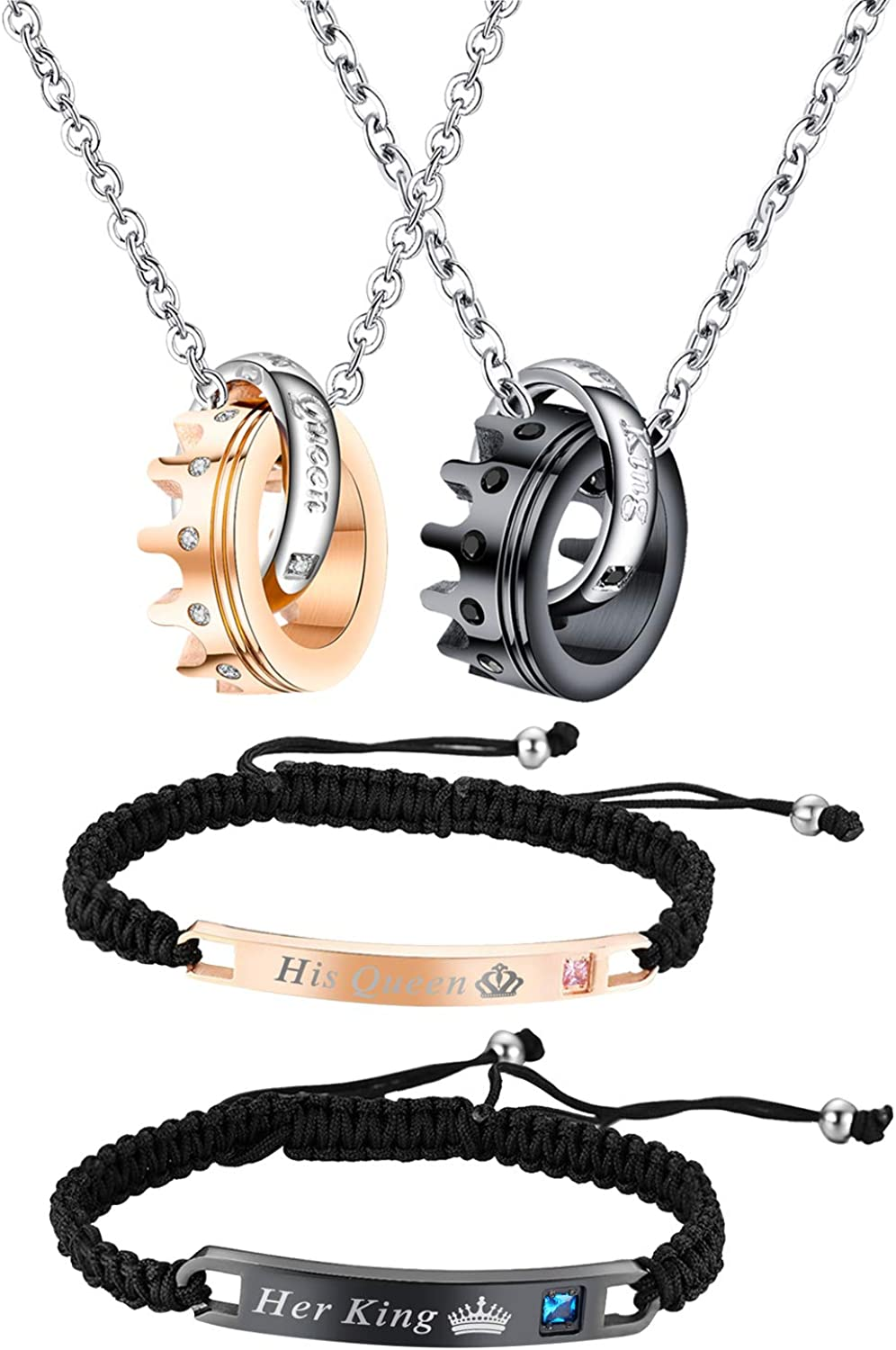 Couples Jewelry Sets-Hand Braided His Queen and Her King Bracelets, Crown Ring Matching Necklaces, for Chirstmas,Valentines Day Gift,with Gift Box