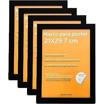 Nacnic Marco Negro tamaño A4-21x29.7cm. Marco Negro para Fotos, Posters, Diplomas, …: Amazon.es: Hogar