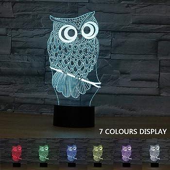 Coolzon 3D LED Illusion Lampe de Chevet Veilleuse Enfants Tactile 7 Couleurs Changeantes Chouette Nuit Lumière Cadeau de Noël pour Enfants Coffret