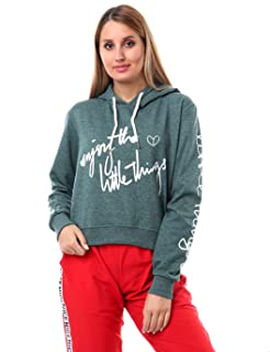 Andora Regular-Fit Ribbed Trims Letter-Print Hoodie for Women