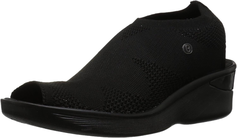 Bzees Women's Secret Wedge Sandal, Black Knit, 8 M US