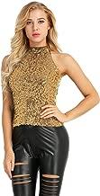 Agoky Women's Fashion Shimmer Flashy All Sequins Embellished Halter Neck Sleeveless Vest Tank Tops