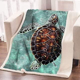 ARIGHTEX Sea Turtle Fleece Throw Blanket Super Soft Sherpa Blanket Underwater Turquoise Decorative Kids Blankets (50 x 60 Inches)