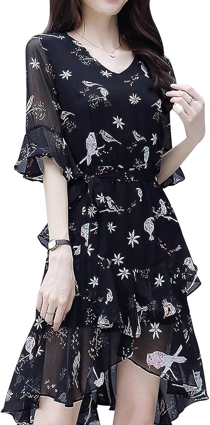 Springrain Women's V Neck Flounce Short Sleeve Irregular Floral Printed Chiffon Midi Dress