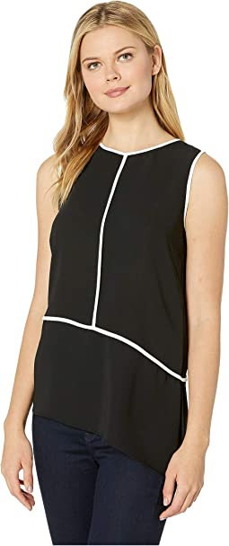 Sleeveless Angle Bottom Blouse with Piping