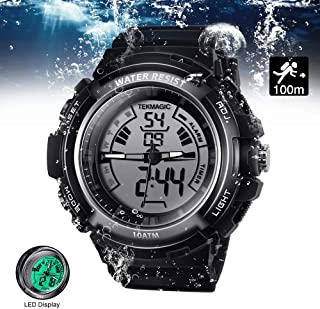 Digital Swimming Wrist Sports Watch 100m Water Resistant for Diving with LED Back Light Support Stopwatch and Chronograph Functions (W19-G)