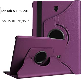 EKVINOR 360 Degree Rotating Case Compatible with Samsung Galaxy Tab A 10.5, Premium PU Leather Auto Wake/Sleep Stand Cover for Galaxy Tab A 10.5 inch 2018 Model (SM-T590/T595/T597) - Purple